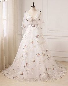 Chic A-line V neck White Prom Dress With Butterfly Prom Dresses Long Evening Dre. - Chic A-line V neck White Prom Dress With Butterfly Prom Dresses Long Evening Dre. Chic A-line V neck White Prom Dress With Butterfly Prom Dresses Lo. Prom Dresses With Sleeves, Tulle Prom Dress, Floral Prom Dresses, Dress Wedding, Party Dress, Floral Gown, Sleeved Prom Dress, Formal Dresses, Vintage Prom Dresses