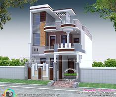 4 BHK 2200 sq-ft Contemporary style North Indian Home 3 Storey House Design, Two Story House Design, Best Modern House Design, Village House Design, Kerala House Design, Bungalow House Design, Cool House Designs, House Outside Design, House Front Design