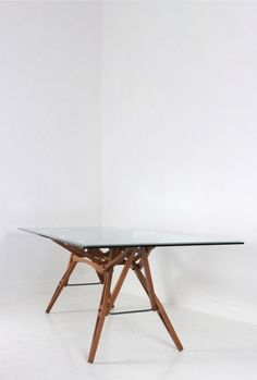 Carlo Mollino 'Reale' table designed by Mollino in 1946. This is the 'Hommage to Carlo Mollino' edited by Zanotta. Frame made out of walnut, 2m20 x 90 cm.