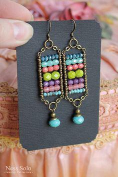 Handmade Wire Jewelry, Diy Crafts Jewelry, Boho Jewelry, Earrings Handmade, Beaded Jewelry, Jewelery, Simple Bead Earrings, Diy Earrings, Hoop Earrings