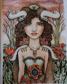 Aries Art, Adult Coloring, Colouring, Taurus, Bond, Artist, Prismacolor, Anime, Fictional Characters
