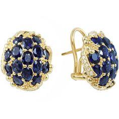 18k Pave Oval Sapphire & Diamond Earrings