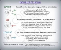 Watch, See, Look at #verbs #grammar, #learn #english, #material