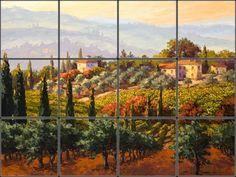 Vibrant Italian kitchen backsplash mural capturing the spirit of Tuscany.