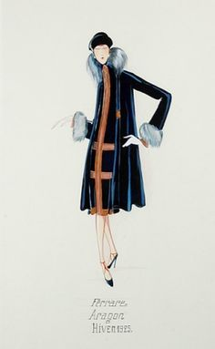 Paul Iribe Jeanne Lanvin Aragon Illustration   1925   Gouache on paper of woman in navy dress and coat, inscribed Ferrare Aragon/Hiver 1925, 17 3/4 x 11 inches.   Excellent condition.