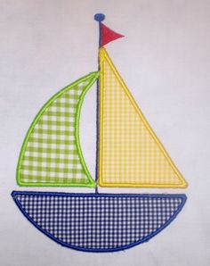 This listing is for a cute Sailboat Embroidery Design Applique. With your purchase you will receive the applique in 3 sizes: and This design is created to be used on an embroidery machine. You must have an embroidery Applique Templates, Applique Patterns, Applique Quilts, Applique Designs, Machine Embroidery Designs, Hand Embroidery, Quilt Patterns, Sewing Patterns, Applique Ideas