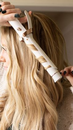 "Your multi-use tool: the SinglePass Curl 1"" isn't just for glamorous curls, it creates waves too. Wrap hair around the barrel with the clamp open for looser waves. #T3Hair"