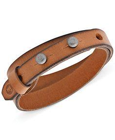 Fossil Men's Double Leather Wrap Bracelet - Fashion Bracelets - Jewelry & Watches - Macy's