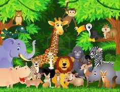 Animal cartoon Wall Mural Wallpaper from Canvas Art Rocks. This high quality wallpaper mural is custom made to your dimensions. Jungle Pictures, Wild Animals Pictures, Safari Theme, Jungle Theme, Jungle Party, Cartoon Elephant, Cartoon Jungle Animals, Cartoon Wallpaper, Wallpaper Jungle