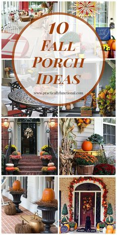 10 Fall Porch Ideas Ready to start decorating for fall? Here are 10 gorgeous fall porch ideas to inspire you! Autumn Decorating, Porch Decorating, Decorating Ideas, Decor Ideas, Ideas Geniales, Fall Projects, Diy Projects, Fall Home Decor, Fall Harvest