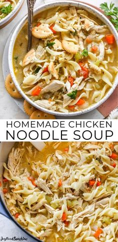This is the best homemade Chicken Noodle Soup Recipe ever! This easy chicken noodle soup is flavorful, hearty, healthy and it's made in one pot in under an hour! Follow our step-by-step instructions & watch the video to learn how to make chicken noodle soup!
