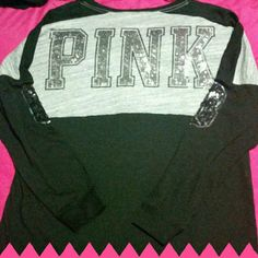 VS PINK Limited Edition Bling Crew Beautiful and brand new. Willing to trade for other VS in size large ONLY. I prefer new with or without tags for this. Looking for a VS hoodie set. Trade value $200 PINK Victoria's Secret Tops Tees - Long Sleeve
