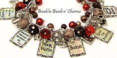 Book Lovers Charm Bracelet Jewelry Love to Read Charm Bracelet by baublesbeadsncharms, $39.88