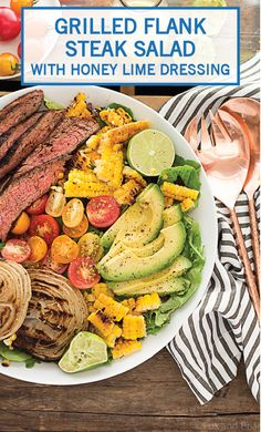 This Mexican Grilled Flank Steak Salad with Honey Lime Dressing has a smoky spiced grilled flank steak, charred corn, grilled onions, creamy avocado and a zingy honey lime dressing. Quick to make inside on the stove or outside on the grill! Flank Steak Salad, Grilled Steak Salad, Grilled Meat, Cooking Steak On Grill, How To Grill Steak, Corn Salad Recipes, Summer Salad Recipes, Summer Salads, Burritos