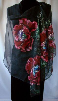 Shawl.Natural silk shawl  floral black hand painted shawl