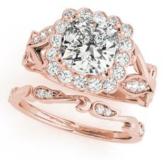 Engagement Ring -Square Floral Vine Diamond Halo Bridal Set in Rose... ($1,952) ❤ liked on Polyvore featuring jewelry, rings, rose gold band ring, wedding rings, square cut ring, square wedding rings and pink gold engagement rings
