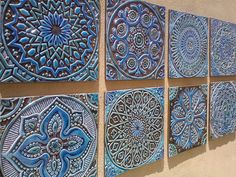 6 Moroccan, Suzani or Mandala wall hangings made from ceramic - Set of 6 - wall art - wall hanging - wall decor - Ceramic tile - turquoise by GVEGA on Etsy https://www.etsy.com/listing/221819605/6-moroccan-suzani-or-mandala-wall