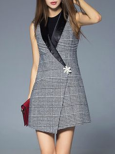 Gray Sleeveless H-line Checkered/Plaid Lapel Vest