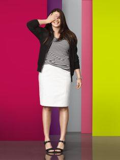 Our Curve-Loving Pencil Skirt is the highlight of your work-to-weekend wardrobe in polished, durable double-woven fabric. #LaneBryant #Spring #Fashion