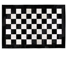 Large checkerboard pattern. Genuine black and white cowhide rug. - Geometric Rugs #SkyRugs