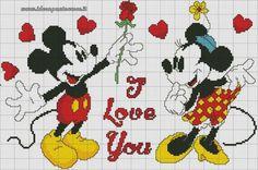 Mickey & Minnie - I Love You 1 of 2 Embroidery Cross Stitch Disney, Disney Cross Stitch Patterns, Cross Stitch Baby, Cross Stitch Designs, Mickey E Minnie Mouse, Mickey Mouse And Friends, Cross Stitching, Cross Stitch Embroidery, Disney Quilt