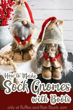 These adorable no-sew farmhouse gnomes are made with a fun (and ridiculously easy) addition. Click to see how to make these fun sock gnomes into a wow-worthy decor piece. #rufflesandrainboots #gnomes #sockgnome #farmhouse Christmas Gnome, Christmas Projects, Diy Crafts To Sell, Holiday Crafts, Craft Gifts, Diy Gifts, Sewing Crafts, Sewing Projects, Gnome Tutorial