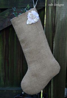 Burlap Christmas stocking.
