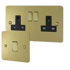 Ultra Flat Polished Brass Sockets and Switches Polished Brass, Usb Flash Drive, Flat, Bass, Usb Drive, Flat Shoes