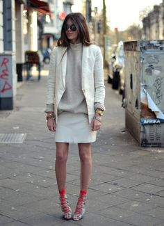 neutral, simple outfit with eye-catching shoes