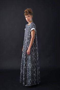 Long Evening Dress with Short Sleeves and Pockets, Grey Leopard Print Trendy Dress, Elegant Animal Print Dress, Handmade Designer Maxi Dress by StellaandLori on Etsy