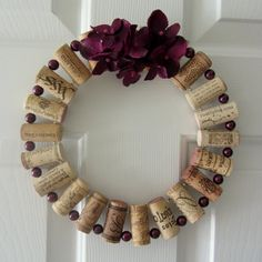String corks and beads on outside and hotglue inside.