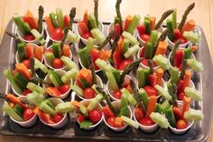individual vegetable cups with dip. This is my go-to vegie tray option for parties...especially with kids - no more worries of *double dipping*!
