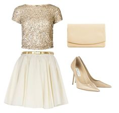 """""""tan gold"""" by tiba-m-mahmoud on Polyvore featuring River Island, Alice + Olivia, Jimmy Choo and Skagen"""