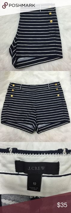 """J. Crew Nautical Shorts 10 Super cute navy shorts with white rope stripes and golden anchor buttons. 3"""" inseam, 9"""" rise, 34"""" waist. Excellent used condition. J. Crew Shorts"""