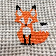 Instant Download Counted cross stitch pattern for a little mid-century modern style fox. You will download a PDF file of the needlepoint pattern