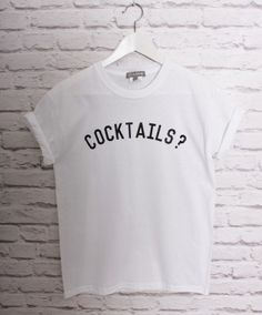 LOVE COCKTAILS SLOGAN T-SHIRT IN WHITE - In Love With Fashion