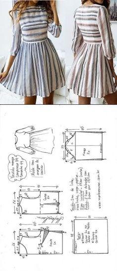 Vestido manga camponesa com saia franzida Fashion Sewing, Diy Fashion, Ideias Fashion, Fashion Outfits, Moda Fashion, Diy Clothing, Sewing Clothes, Dress Sewing Patterns, Clothing Patterns