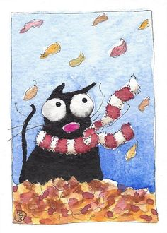 ACEO Original watercolor painting whimsical black fat cat fall leaves red scarf #IllustrationArt