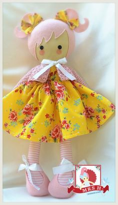 """19"""" tall, she is wearing a removable skirt, shoes and hand crocheted cardigan All my dolls are suitable from birth To keep your dolly looking her best Hand washing is strongly recommended Mrs.H Handmade original design"""
