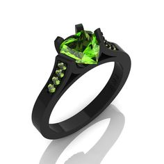 Gorgeous 14K Black Gold 1.0 Ct Heart Peridot by DesignMasters, $499.00