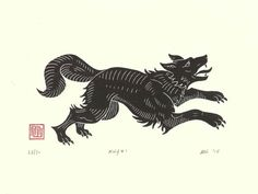 Inspired by the naïve and quirky simplicity of medieval woodcuts, this handmade linocut print of a wolf is one of a limited edition run of 30, and