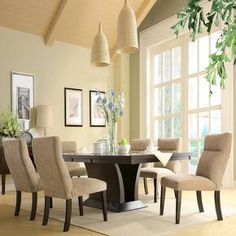 Charles dining Set features an elegant oblong table of espresso finished ash, surrounded by luxuriously padded chairs upholstered in a creamy chenille fabric. A butterfly extension leaf makes extra room for a table centerpiece or a holiday feast. 4 Dining Chairs, Extendable Dining Table, Dining Room Sets, Dining Room Table, Table And Chairs, A Table, Dining Area, Room Chairs, Side Chairs