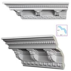 @Overstock - This ornate crown molding, featuring Acanthus leaf medallions, is modeled after the styling of Christopher Wren and features a strong and distinct appearance.  This molding can be coped, mitered, cut and installed just like a wood product.http://www.overstock.com/Home-Garden/Baroque-style-7.5-inch-Crown-Molding-w-Acanthus-Medillions-8-pack/5556298/product.html?CID=214117 $244.99