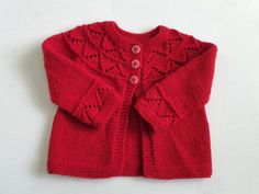 Merino wool hand knit girl's sweater, baby 2 - 5 months, red knitted pure wool girls cardigan with pretty zig zag lacy yoke, baby girl gift Baby Girl Sweaters, Red Pattern, 5 Months, Baby Girl Gifts, Wool Cardigan, Zig Zag, Baby Knitting, Merino Wool, Ready To Wear