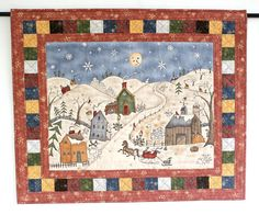 Christmas Wall Hanging Quilted Snowman Wall by RedNeedleQuilts