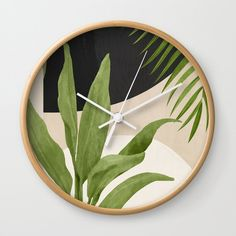 Abstract Art Tropical Leaf 11 Wall Clock Refurbished Furniture, Furniture Makeover, Unique Watches, Tropical Leaves, Wall Clocks, Plant Decor, Hand Coloring, Cool Designs, Abstract Art