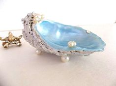 Oyster Shell Ring Jewelry Dish Blue White by HydrangeaHillVintage