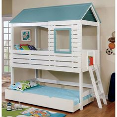 Bunk beds should be fun as well as practical. For example this whimsical piece. Twin on top and full on the bottom, or just set it up as a single loft. Kids will love it! Single Bunk Bed, Cool Bunk Beds, Living Spaces, Whimsical, Kids Room, Twin, Loft, Furniture, Home Decor