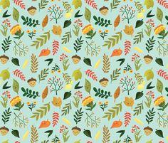 Cheery Autumn - Light Teal fabric by babybubbleco on Spoonflower - custom fabric