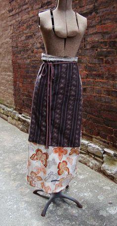 Autumn Wrap Skirt/ Rustic Womens Skirt/ by RebirthRecycling, $70.00